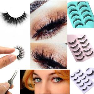 New-100-Real-3D-Mink-Makeup-Cross-False-Eyelashes-Eye-Lashes-Extension-Handmade
