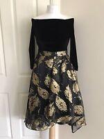 Size 6-18 New Coast Velvet Jacquard Evening Prom Occasion Party Skater Dress