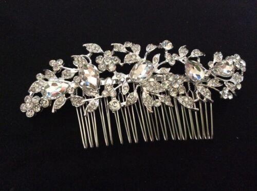Wedding Brida Tiara Prom Elegant Rhinestone Crystal Comb Hair Clip Silver  HA003