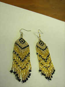 Image Is Loading Seed Bead Earrings New Long Gold And
