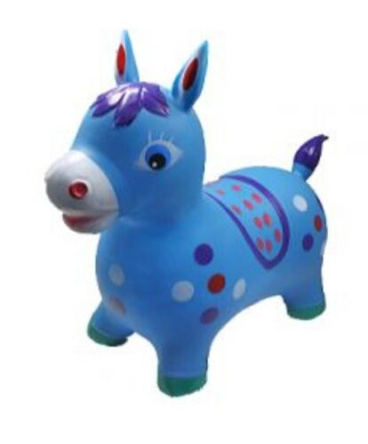 bouncy BLUE Horse inflatable with pump KIDS TOYS Ride Jumping Bouncy animal
