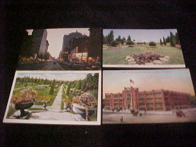4 Spokane WA postcard lot, divided-back to chrome, FREE SHIP