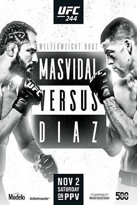 Art Silk Poster UFC 244 Nate Diaz vs Jorge Masvidal MMA Fight Hot Decor G869