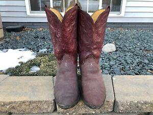 Men-039-s-Vintage-Olathe-Exotic-Stingray-Leather-Cowboy-Boots-Size-13-Extra-Wide
