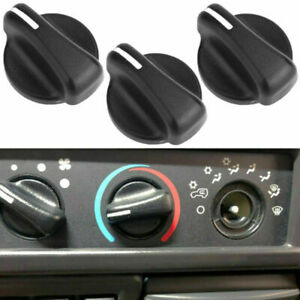 3PCS Heater A//C Blower Fan Speed Control Knob Black Fits 99-06 Wrangler TJ//