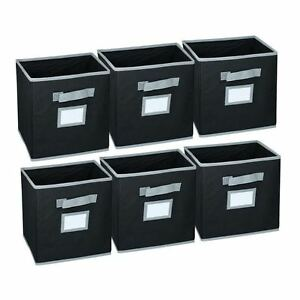 hangorize collapsible fabric foldable storage cube basket bins 6 pack black ebay. Black Bedroom Furniture Sets. Home Design Ideas