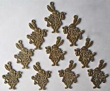 10 x Alice Wonderland Rabbit 3D-2 Side Antique Bronze Bead/Charm/Pendant CH23