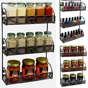 tiered spice racks for kitchen cabinets spice rack 3 tier wall mounted holder storage shelf 9463