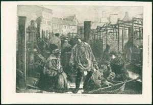 1874-Antique-Print-GERMANY-Berlin-Fish-Market-Boats-Nets-Men-Old-Woman-169