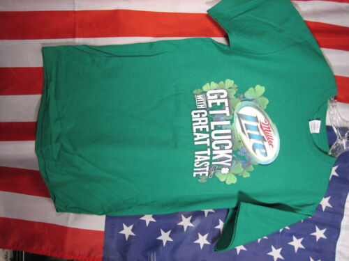 Miller LITE  Leprechaun Beer St.Pats PATRICK Shirt md Get Lucky IRISH  M  LG  XL