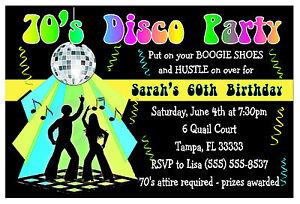 70s DISCO PARTY INVITATIONS for birthday etc eBay