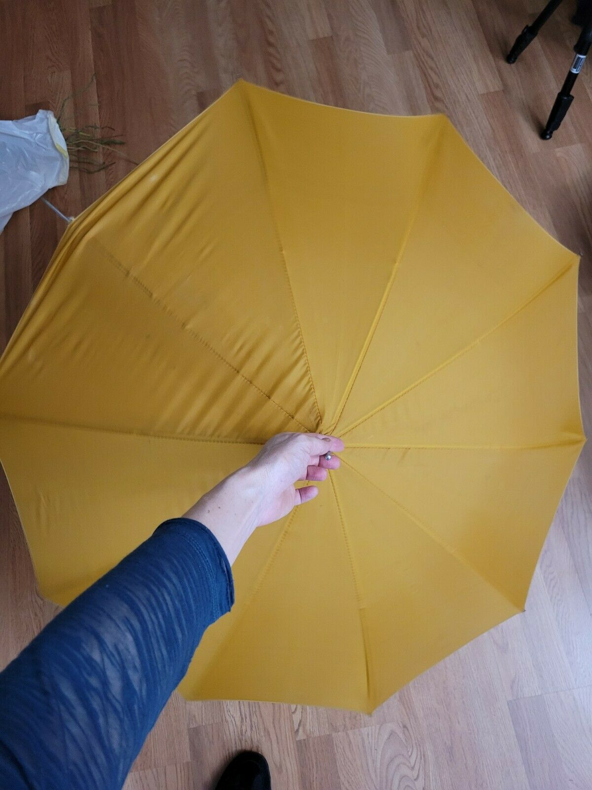 vtg 1960s 70s ? yellow mustard faux Bamboo Handle… - image 7