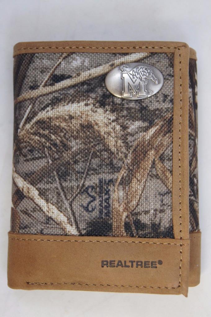 ZEP-PRO Memphis Tigers Realtree Max-5 Camo Trifold Wallet TIN GIFT BOX