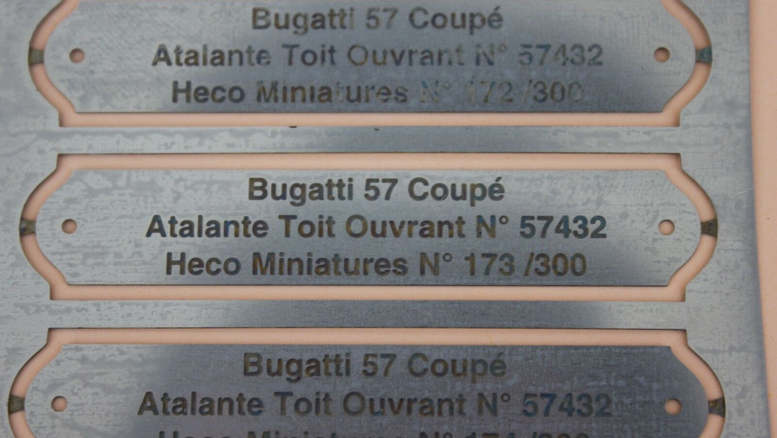 Heco miniatures ol 1 engraved metal plate numbered bugatti atalante 57432 57 coupe