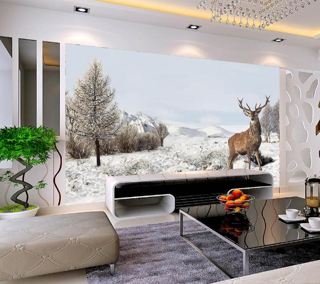 3D Snow Mountain Deer Nature 58 Wall Paper Wall Print Decal Wall AJ WALLPAPER CA