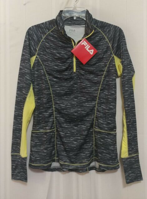 42ea4332904b NWT Fila Women s Half-Zip Top Long Sleeve with thumb holes Black White Size  M
