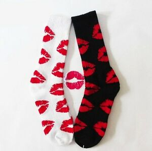 image is loading lipstick kiss crew socks choose black or white - Valentines Socks
