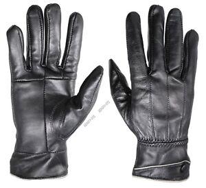 New-Women-039-s-Luxury-100-Black-Leather-Winter-Warm-Gloves-w-Fur-Lined-Gloves