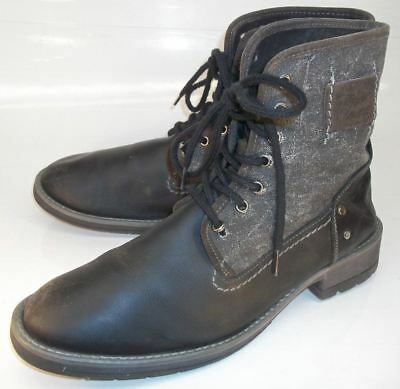 acce991a4a0 Steve Madden NEWMANN Mens US12D Black Leather Gray Textile Boots ...