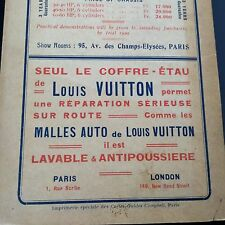 Pub Ancienne Louis Vuitton 1908 1909 Malle Auto Cartes Guides Campbell Normandie