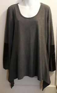 Dark-Grey-Long-Sleeve-Knit-Top-by-Melissa-Paige-Size-L