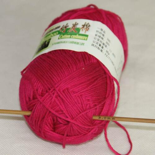 VENTE 50 g 1 Ball Soft Natural Bamboo Coton Tricot Châle Wrap fil Berry Rose