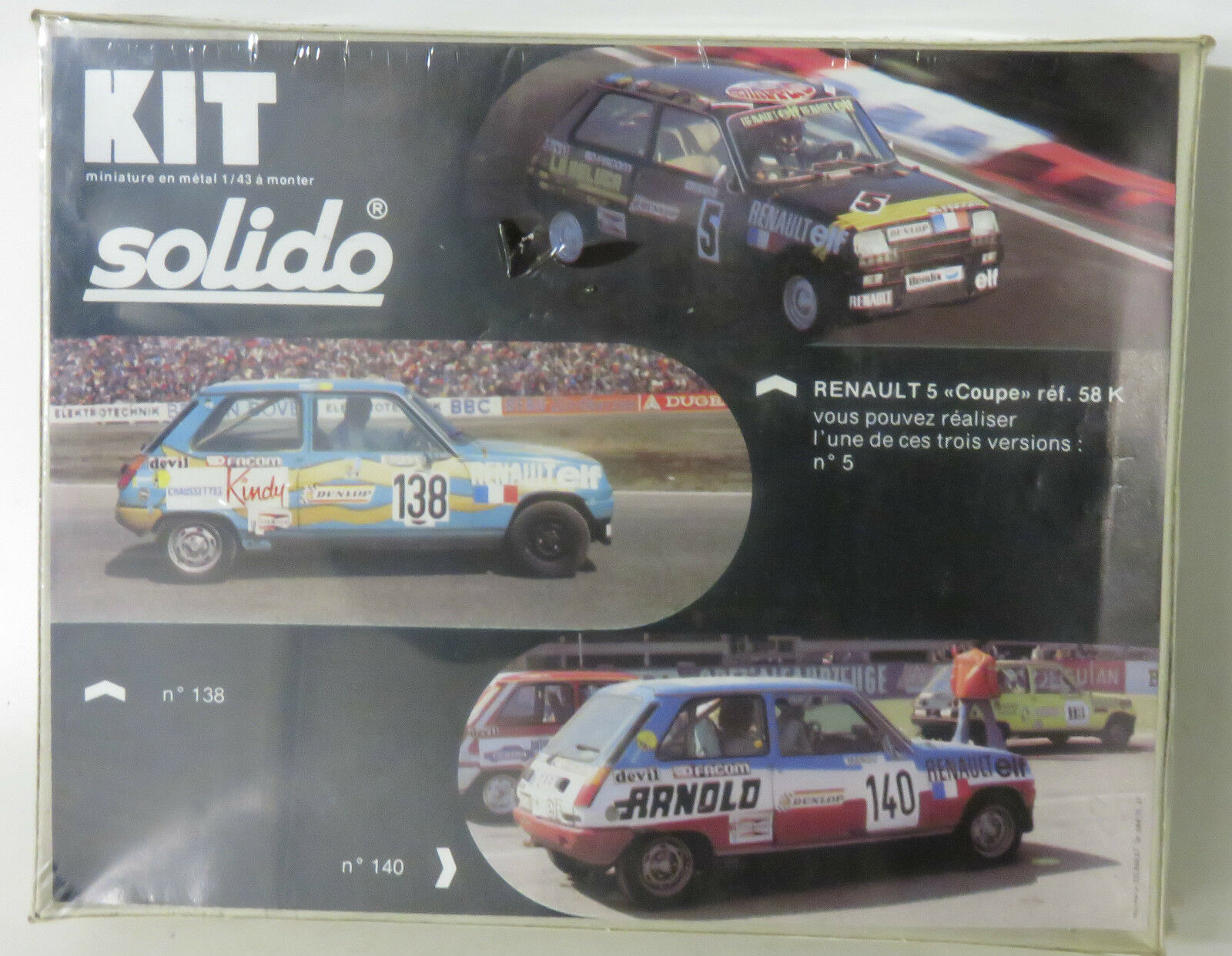 1 43 Solido 1980`s Renault 5 Coupe   Cup  Metal Kit with 3 decal versions