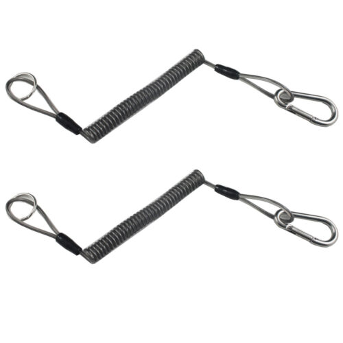 2 X Fishing Pliers Lanyard Steel Coil Tether Coil Lanyard Fishing Tool Tether
