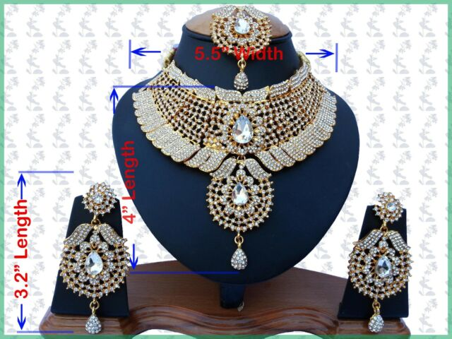 Designer Stylish Bollywood Fashion Gold Plated Kundan Neckace Setsl Big Earrings
