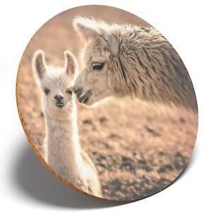 1 X lindo bebé Llama Alpaca mamá-Posavasos Redondo Estudiante De Cocina Regalo para Niños #12989