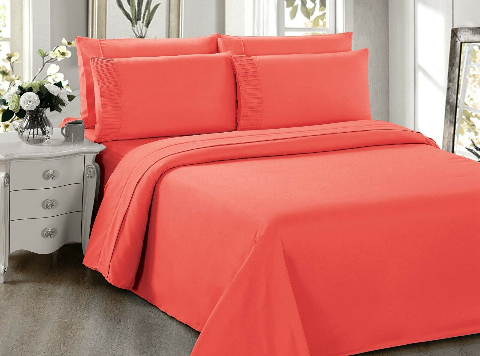 Black Color Bamboo Living Eco Friendly Egyptian Comfort Bedding 6 Piece Sheet Set with 4 Pillowcases Double//Full Size