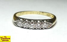 Stunning 14K Gold & Platinum 5-Stone Diamond Wedding Band Ring 0.35 CTTW 3g 7.25