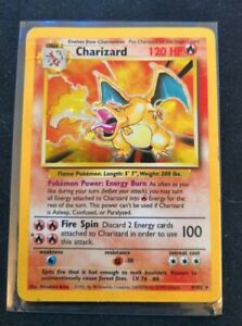 Pokemon-Card-Rare-Charizard-4-102-Good-light-play-condition-Holo-Shiny-Foil