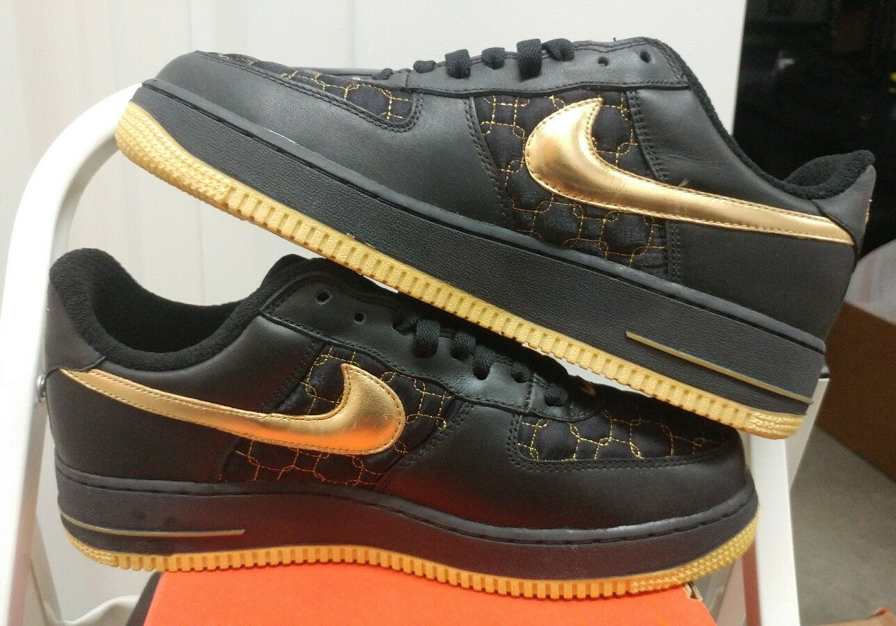 Nike Women Air Force 1 1 1 Black Metallic gold Max 307109 071 Sz US Wmns 11 Mns 9.5 d2647f