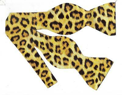 Jaguar Spots on Yellow Gold Self-tie Bow tie Jaguar Print Bow Tie