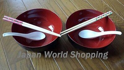 Ramen Bowls X2 with Spoons & Chopsticks Japanese Noodle Soup Udon Yakisoba JAPAN