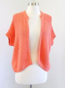 NWT Chicos Orange Open Front Shrug Style Bernadette Knit Cardigan Sweater Size 2