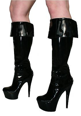 Señoras Erosella Donna 2 Negro Patente de la rodilla Botas altas talla UK4 EU37