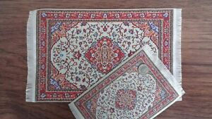 "Dollhouse Miniature 6/""x10/"" Oriental Persian Style Woven Rug Carpet Fringe 1:12"