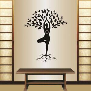 vinyl decal girl yoga in tree pose meditation pose fitness