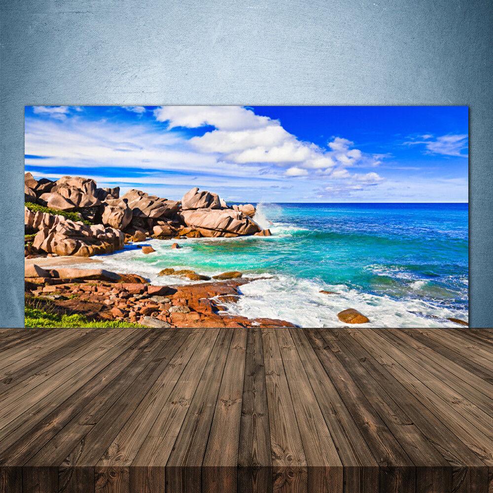 Vidrio Templado Cocina salpicaduras 140x70 Paisaje Mar rocas de playa