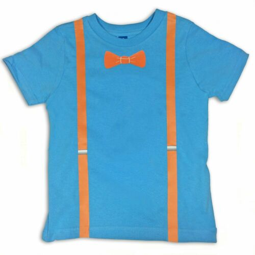 Blippi Official Replica Suspenders Bow Tie Shirt T-Shirt for Kids Size 2T USA
