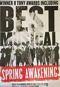 Details about Spring Awakening OBC Cast SIGNED HUGE Bus Shelter Poster  Groff Lea Michele COA