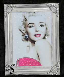 Image Is Loading Marilyn Monroe Pink Glitter Canvas Picture Silver Shabby