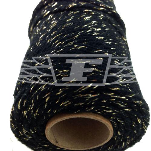 Oro 2 mm de 2 capas-Cadena de cordón umbilical everlasto Hermoso Bakers Twine Brillo Negro