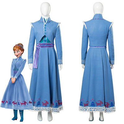 2018 Anna Olaf's Adventure Anna Dress Cosplay Costume Blue Gown | eBay
