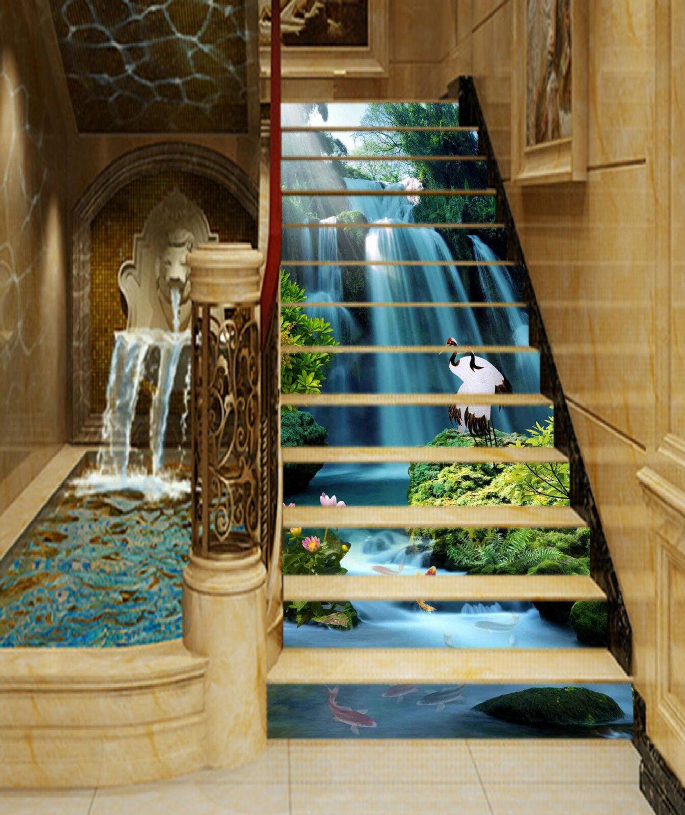 3D Wasserfall 245 Stair Risers Dekoration Fototapete Vinyl Aufkleber Tapete DE