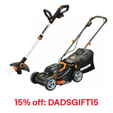 """WORX WG911 Extra 15% OFF 2X20V 17"""" Lawn Mower & 12"""" Cordless GT Trimmer & Edger"""