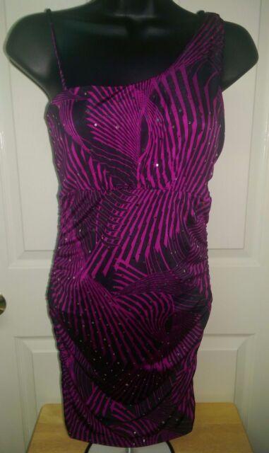 Wet Seal NWT Juniors Women Pinkish Purple Black Design Sequins Mini Dress Size M