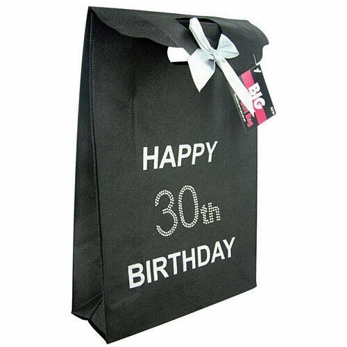 30th Black Happy Birthday Gift Bag